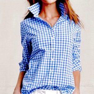 Blue White Gingham Button Up Seersucker Shirt